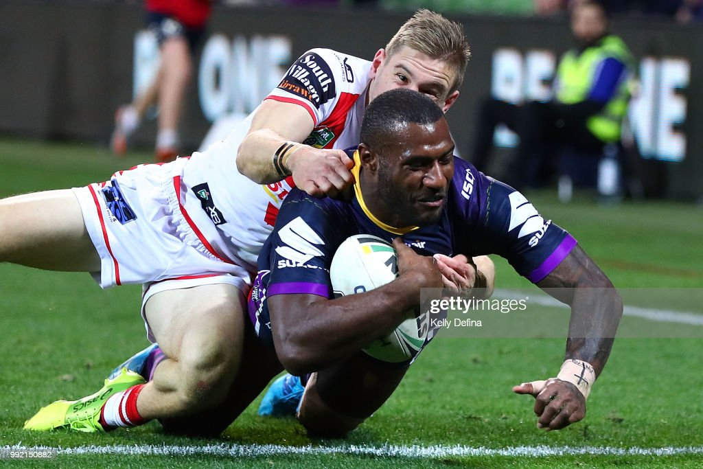 Suliasi Vunivalu of the Storm scores a try during the round 17 NRL match between the Melbourne Storm and the St George Illawarra Dragons at AAMI Park on July 5, 2018 in Melbourne, Australia.