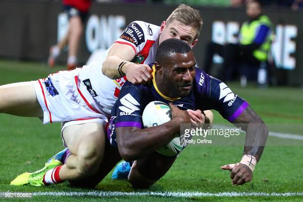 Suliasi Vunivalu of the Storm scores a try during the round 17 NRL match between the Melbourne Storm and the St George Illawarra Dragons at AAMI Park...