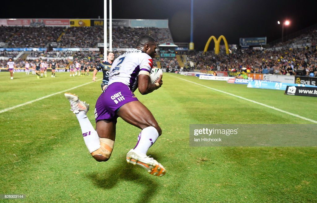 Suliasi Vunivalu of the Storm scores a try during the round 22 NRL match between the North Queensland Cowboys and the Melbourne Storm at 1300SMILES Stadium on August 4, 2017 in Townsville, Australia.