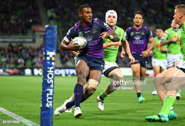 Suliasi Vunivalu of the Storm scores a try during the round 26 NRL match between the Melbourne Storm and the Canberra Raiders at AAMI Park on...