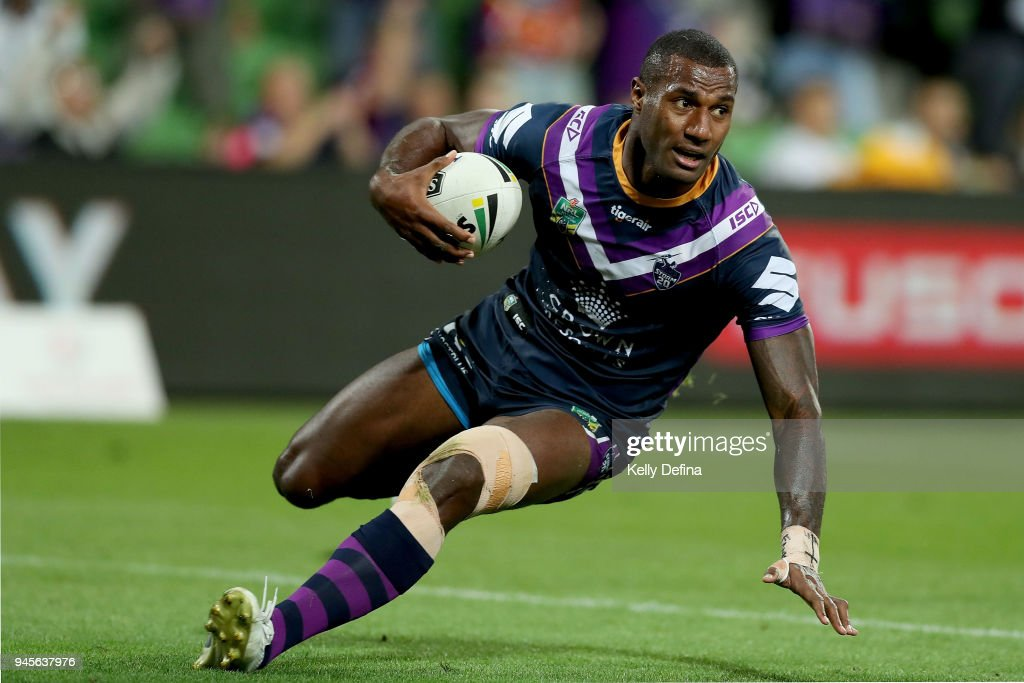 Suliasi Vunivalu of the Storm scores a try during the round six NRL match between the Melbourne Storm and the Newcastle Knights at AAMI Park on April 13, 2018 in Melbourne, Australia.