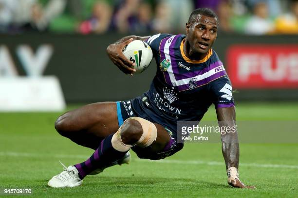 Suliasi Vunivalu of the Storm scores a try during the round six NRL match between the Melbourne Storm and the Newcastle Knights at AAMI Park on April...