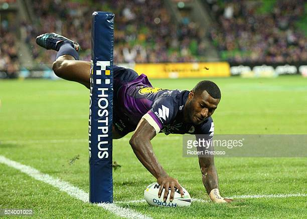 Suliasi Vunivalu of the Storm unsuccessfully attempts to score a try during the round eight NRL match between the Melbourne Storm and the New Zealand...