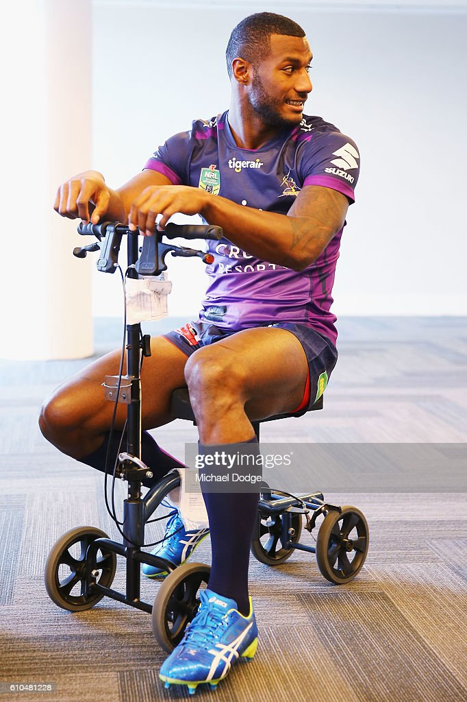 Suliasi Vunivalu waits for the team photo to tae place during a Melbourne Storm NRL media opportunity at AAMI Park on September 26, 2016 in Melbourne, Australia.