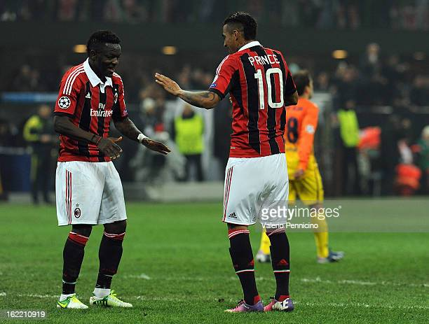 Sulley Ali Muntari of AC Milan celebrates his goal with teammate KevinPrince Boateng during the UEFA Champions League Round of 16 first leg match...