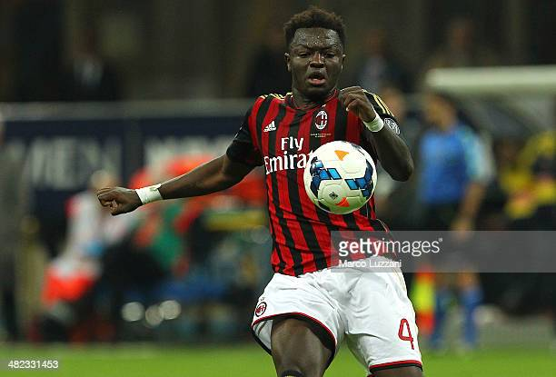 Sulley Ali Muntari of AC Milan in action during the Serie A match between AC Milan and AC Chievo Verona at San Siro Stadium on March 29 2014 in Milan...