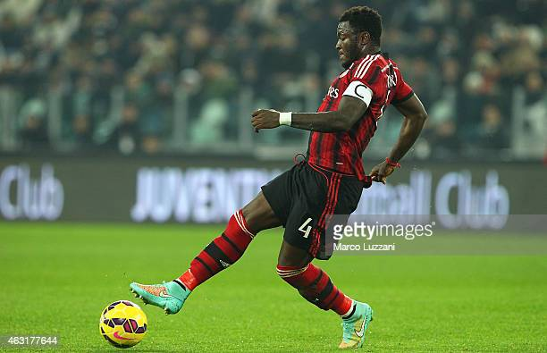 Sulley Ali Muntari of AC Milan in action during the Serie A match between Juventus FC and AC Milan at Juventus Arena on February 7 2015 in Turin Italy