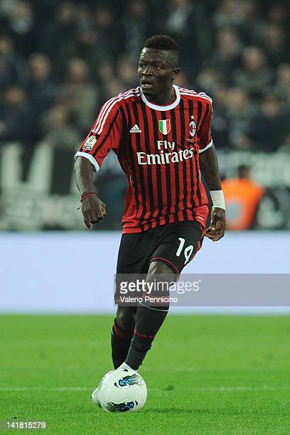 Sulley Ali Muntari of AC Milan in action during the Tim Cup match between Juventus FC and AC Milan at Juventus Arena on March 20 2012 in Turin Italy