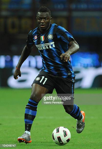 Sulley Ali Muntari of FC Internazionale in action during the Serie A match between FC Internazionale and Udinese Calcio at Stadio Giuseppe Meazza on...