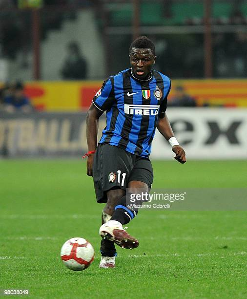 Sulley Ali Muntari of FC Internazionale Milano in action during the Serie A match between FC Internazionale Milano and AS Livorno Calcio at Stadio...