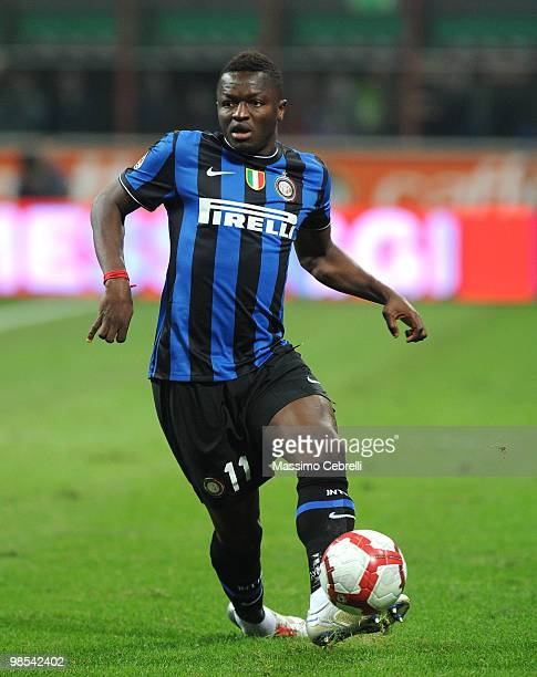 Sulley Ali Muntari of FC Internazionale Milano in action during the Serie A match between FC Internazionale Milano and Juventus FC at Stadio Giuseppe...