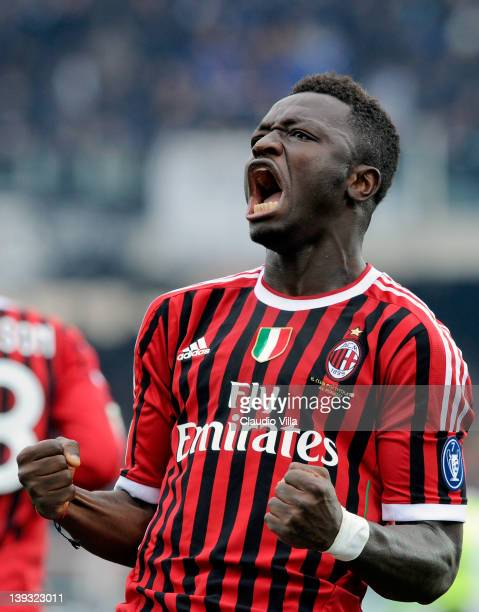 Sulley Muntari of AC Milan celebrates scoring the first goal during the Serie A match between AC Cesena and AC Milan at Dino Manuzzi Stadium on...