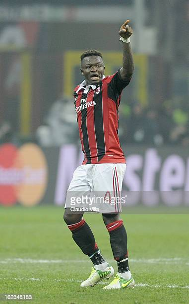 Sulley Muntari of AC Milan celebrates scoring the second goal during the UEFA Champions League Round of 16 first leg match between AC Milan and...
