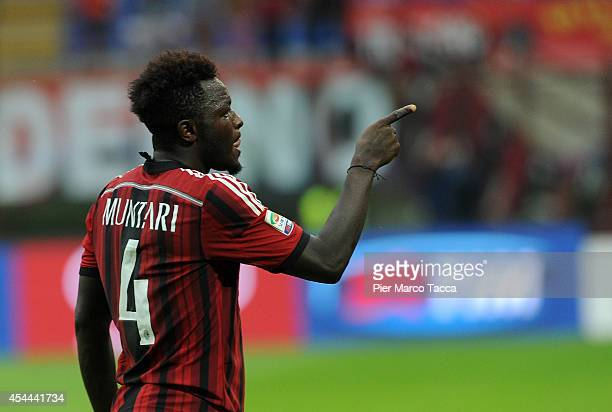 Sulley Muntari of AC Milan celebrates the goal of 2-0 during the Serie A match between AC Milan and SS Lazio at Stadio Giuseppe Meazza on August 31,...