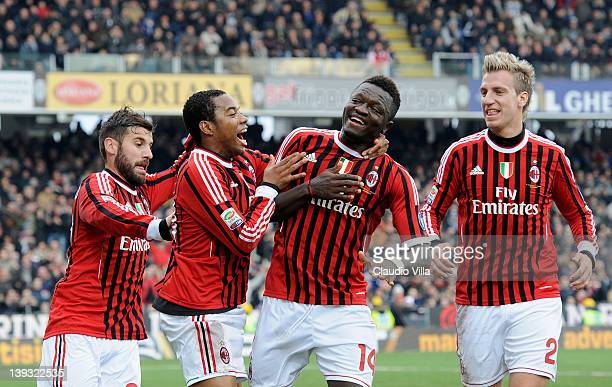 Sulley Muntari of AC Milan celebrates with Antonio Nocerino Robinho and Maxi Lopez of AC Milan after scoring the opening goal during the Serie A...