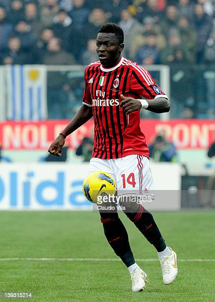 Sulley Muntari of AC Milan during the Serie A match between AC Cesena and AC Milan at Dino Manuzzi Stadium on February 19, 2012 in Cesena, Italy.