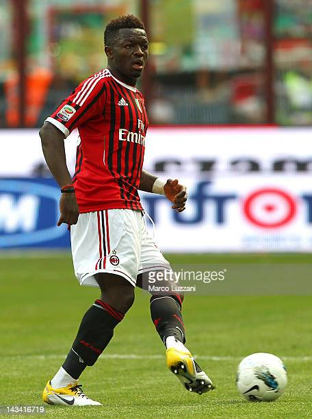 Sulley Muntari of AC Milan in action during the Serie A match between AC Milan and Bologna FC at Stadio Giuseppe Meazza on April 22 2012 in Milan...