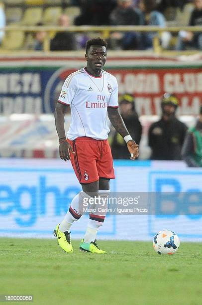 Sulley Muntari of AC Milan in action during the Serie A match between Bologna and AC Milan at Stadio Renato Dall'Ara on September 25 2013 in Bologna...