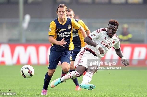Sulley Muntari of AC Milan in action during the Serie A match between Hellas Verona FC and AC Milan at Stadio Marc'Antonio Bentegodi on October 19...