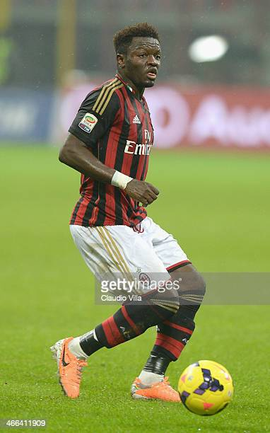 Sulley Muntari of AC Milan in action during the Serie A match between AC Milan and Torino FC at San Siro Stadium on February 1 2014 in Milan Italy