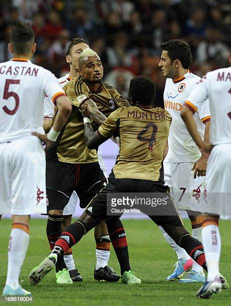 Sulley Muntari of AC Milan is shown the red card during the Serie A match between AC Milan and AS Roma at San Siro Stadium on May 12 2013 in Milan...