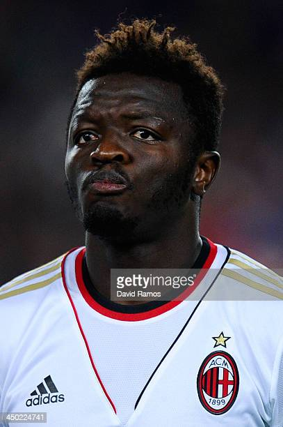 Sulley Muntari of AC Milan looks on prior to the UEFA Champions League Group H match Between FC Barcelona and AC Milan at Camp Nou on November 6 2013...