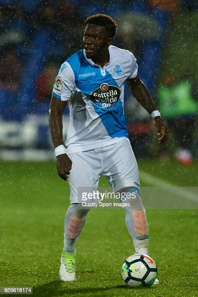 Sulley Muntari of Deportivo De La Coruna in action during the La Liga match between Getafe and Deportivo La Coruna at Coliseum Alfonso Perez on...