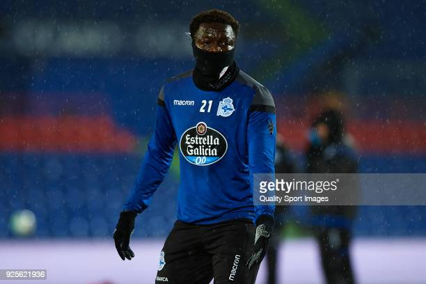 Sulley Muntari of Deportivo De La Coruna warms up prior to the La Liga match between Getafe and Deportivo La Coruna at Coliseum Alfonso Perez on...