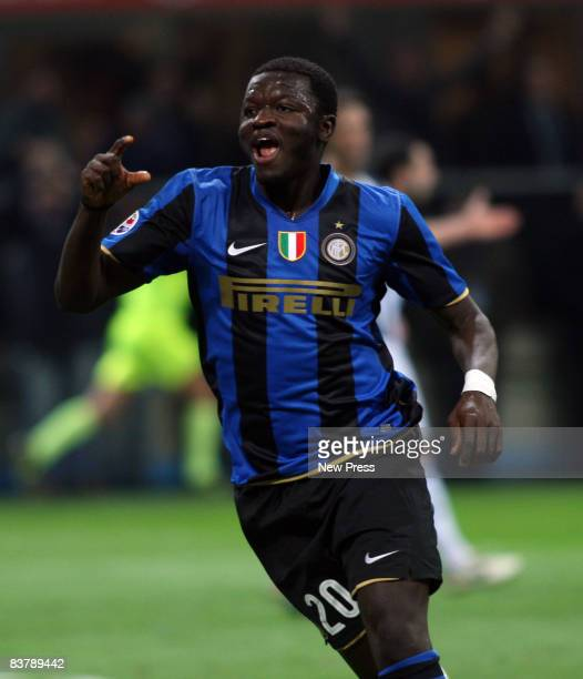 Sulley Muntari of FC Inter Milan celebrates after scoring during the Serie A match between FC Inter Milan and Juventus at the Meazza Stadio on...