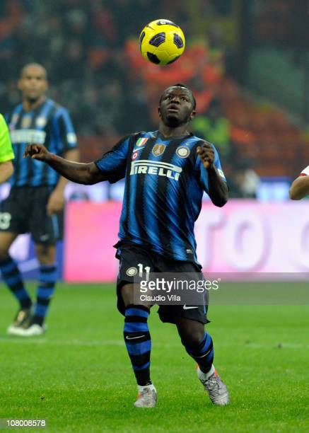 Sulley Muntari of FC Internazionale Milano during the Tim Cup match between Inter and Genoa at Stadio Giuseppe Meazza on January 12, 2011 in Milan,...