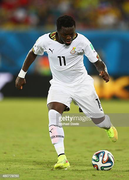 Sulley Muntari of Ghana controls the ball during the 2014 FIFA World Cup Brazil Group G match between Ghana and the United States at Estadio das...