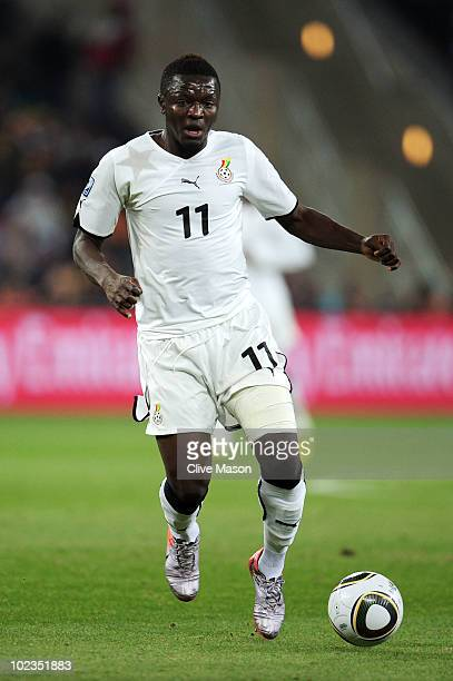 Sulley Muntari of Ghana in action during the 2010 FIFA World Cup South Africa Group D match between Ghana and Germany at Soccer City Stadium on June...
