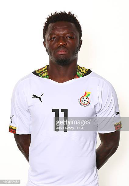 Sulley Muntari of Ghana poses during the official FIFA World Cup 2014 portrait session on June 11 2014 in Maceio Brazil