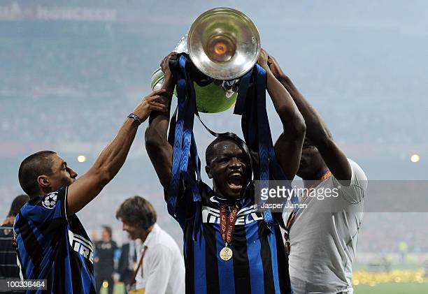 Sulley Muntari of Inter Milan celebrates with the UEFA Champions League trophy at the end of the UEFA Champions League Final match between FC Bayern...