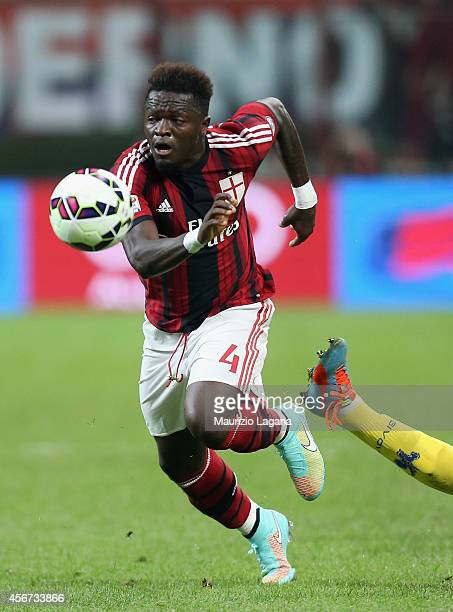 Sulley Muntari of Milan during the Serie A match between AC Milan and AC Chievo Verona at Stadio Giuseppe Meazza on October 4 2014 in Milan Italy