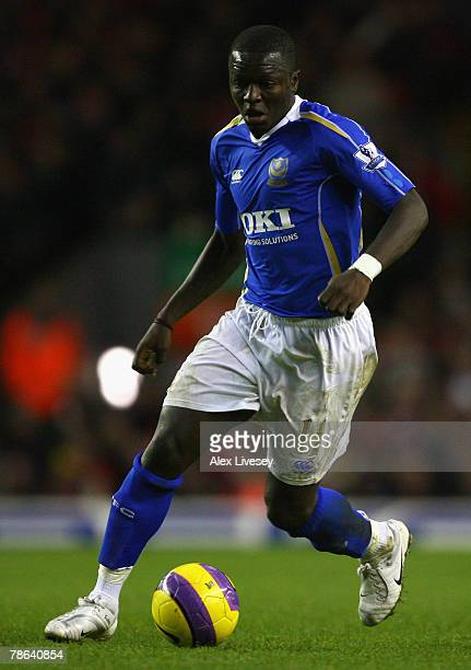 Sulley Muntari of Portsmouth in action during the Barclays Premier League match between Liverpool and Portsmouth at Anfield on December 22 2007 in...