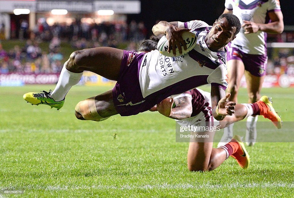 Sullies Vunivalu of the Storm scores a try during the round 24 NRL match between the Manly Sea Eagles and the Melbourne Storm at Brookvale Oval on August 20, 2016 in Sydney, Australia.