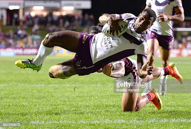 Sullies Vunivalu of the Storm scores a try during the round 24 NRL match between the Manly Sea Eagles and the Melbourne Storm at Brookvale Oval on...