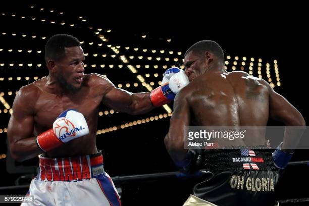 Sullivan Barrera punches Felix Valera during their Light Heavyweight at The Theater at Madison Square Garden on November 25 2017 in New York City