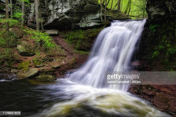 sullivan falls (closeup), 20170504 - sullivan county pennsylvania stock pictures, royalty-free photos & images