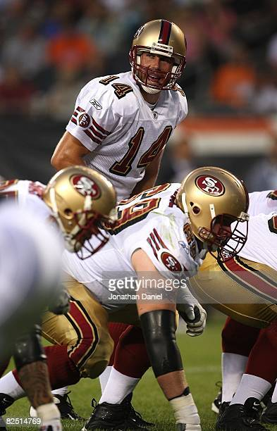 Sullivan of the San Francisco 49ers calls a play at the line of scrimmage against the Chicago Bears on August 21 2008 at Soldier Field in Chicago...