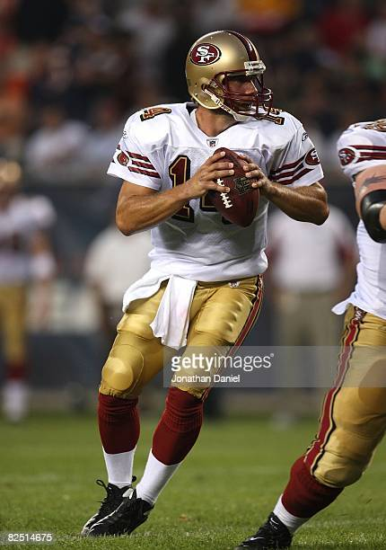 Sullivan of the San Francisco 49ers looks for a receiver against the Chicago Bears on August 21 2008 at Soldier Field in Chicago Illinois The 49ers...