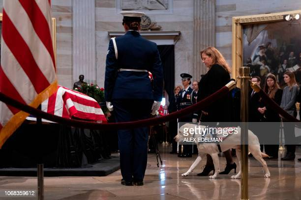 TOPSHOT Sully the service dog is seen as people pay respects as the remains of former US President George H W Bush lie in state in the US Capitol's...