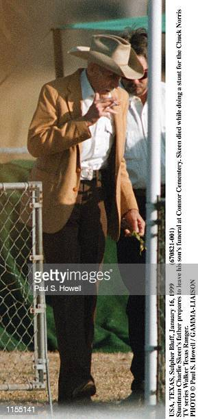 USA TEXAS Sulpher Bluff January 16 1999 Stuntman Charlie Skeen's father prepares to leave his son's funeral at Connor Cementery Skeen died while...