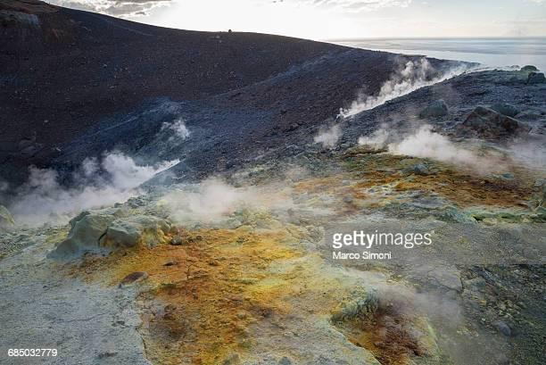 Sulphur and fumarole smoke on volcano Gran crater; Vulcano Island; Aeolian Islands; UNESCO World Heritage Site; Sicily; Italy; Mediterranean; Europe