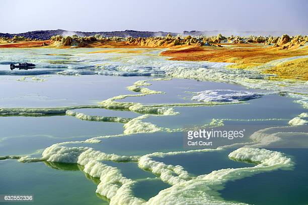 A sulphur lake is pictured in the Danakil Depression on January 23 2017 near Dallol Ethiopia The depression lies 100 metres below sea level and is...