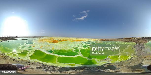 Sulphur lake is pictured in the Danakil Depression on January 23, 2017 near Dallol, Ethiopia. The depression lies 100 metres below sea level and is...