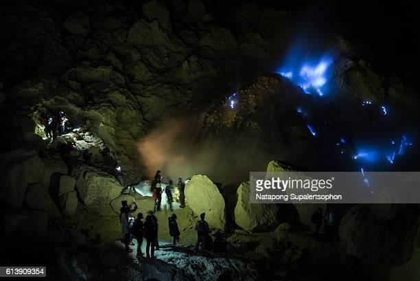 Sulphur Mine and the blue flame, Kawah Ijen