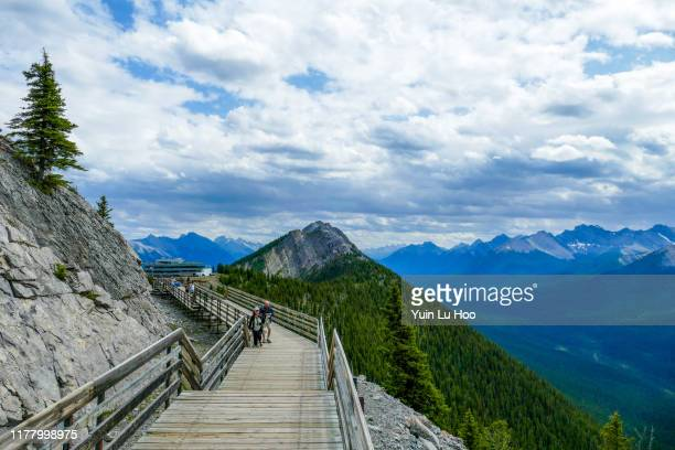 sulphur mountain boardwalk views, banff national park, canada - sulphur mountain stock pictures, royalty-free photos & images