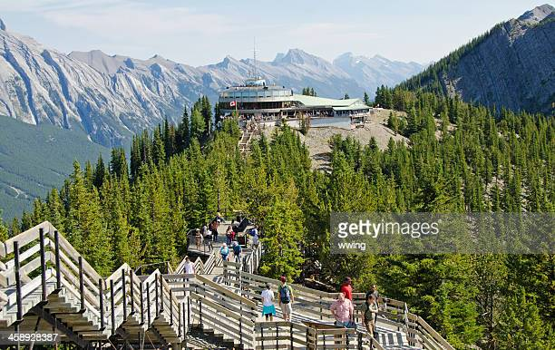 sulphur mountain gondola lookout and walkway 2 - sulphur mountain stock pictures, royalty-free photos & images